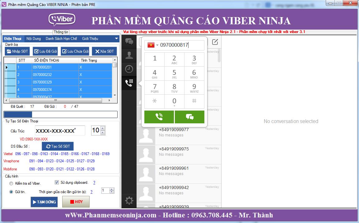 loc viber 1024x660 Phần mềm gửi sms miễn phí, phần mềm gửi sms viber  Viber Ninja