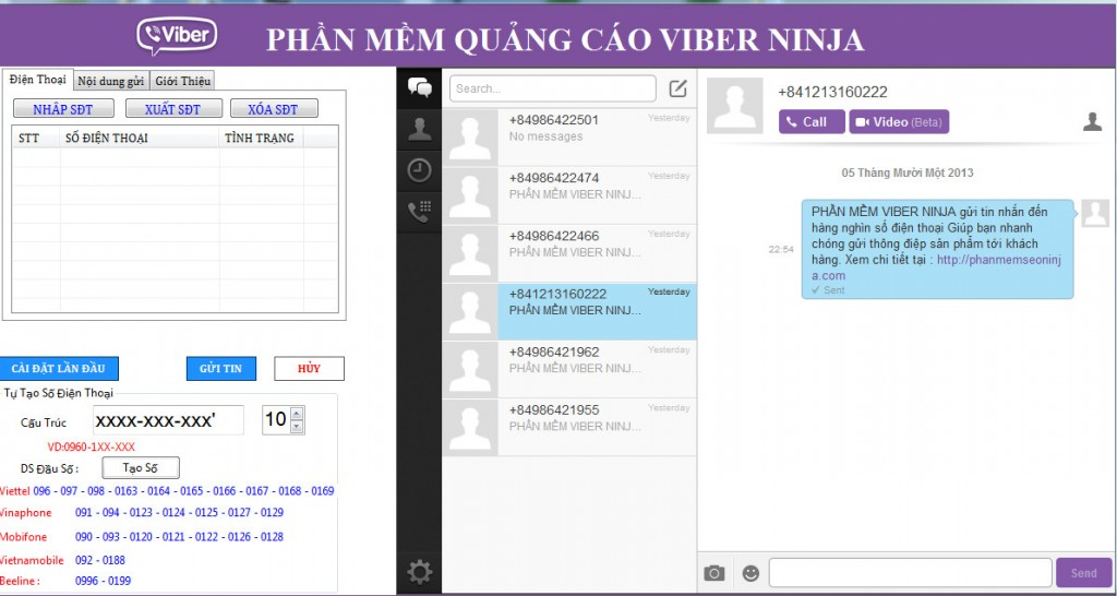 phan mem quang cao viber ninja e1394502625172 1024x546 Phần mềm gửi sms miễn phí, phần mềm gửi sms viber  Viber Ninja