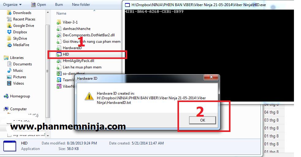 chay id1 Hướng dẫn cấp bản quyền tất cả phần mềm Ninja   Phần mềm quảng cáo Ninja