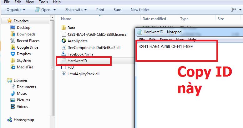 copy ID Hướng dẫn cấp bản quyền tất cả phần mềm Ninja   Phần mềm quảng cáo Ninja