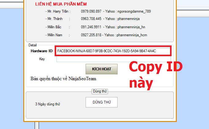 copy ID2 Hướng dẫn cấp bản quyền tất cả phần mềm Ninja   Phần mềm quảng cáo Ninja