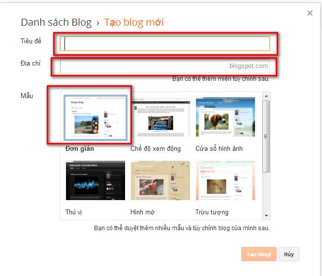 huong dan tao blogspot blogger 3 Hướng dẫn tạo Blogspot – Blogger để làm website vệ tinh
