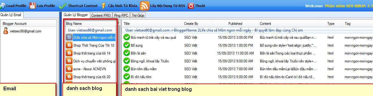 phan mem seo blogspot 4 Phần mềm đăng bài lên Blogspot – Blogger với SEO NINJA