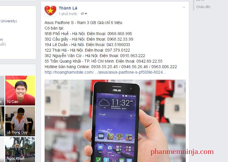 facebook dang len tuong ca nhan Facebook Ninja   Phần mềm Seo Facebook, quảng cáo trên facebook