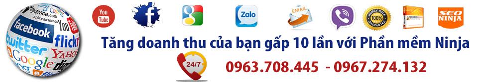 Phần mềm quảng cáo Ninja cung cấp các phần mềm: facebook Ninja, Quảng cáo viber Ninja, Phần mềm seo Ninja, Phần mềm email ninja