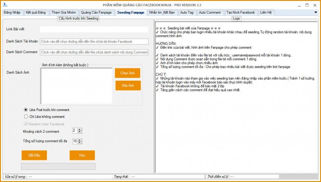 phan mem seeding facebook 1024x582  Hướng dẫn Seeding Facebook bằng phần mềm Facebook Ninja