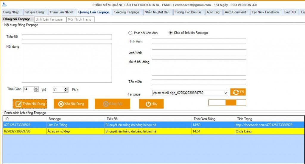 len lich dang bai fanpage 1024x551 1 Phần mềm Facebook Ninja hỗ trợ tăng like Fanpage Facebook như thế nào?