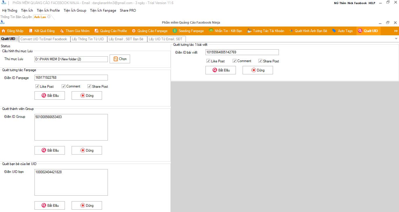 quet UID 1 Phần mềm Facebook Ninja hỗ trợ tăng like Fanpage Facebook như thế nào?