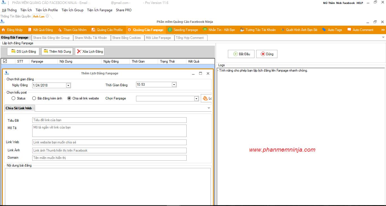 auto dang bai kem link 1 Phần mềm quản lý Fanpage Facebook Ninja có gì đặc biệt?